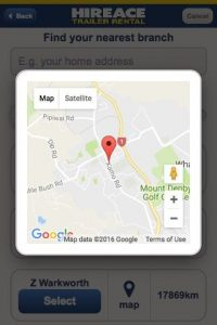 Hireace Trailers mobile app - Search by Branch Map
