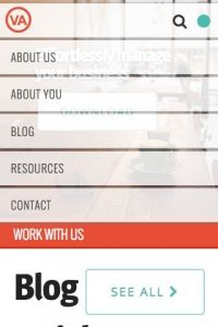 Your Virtual Assistant - Home page mobile menu