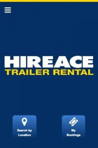 Hireace Trailers mobile app - Home